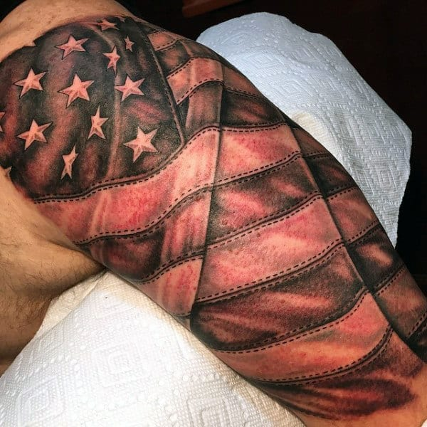 Half Sleeve American Flag Tattoos For Men For Men