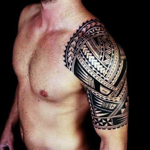 Half Sleeve And Shoulder Male Polynesian Tribal Tattoos