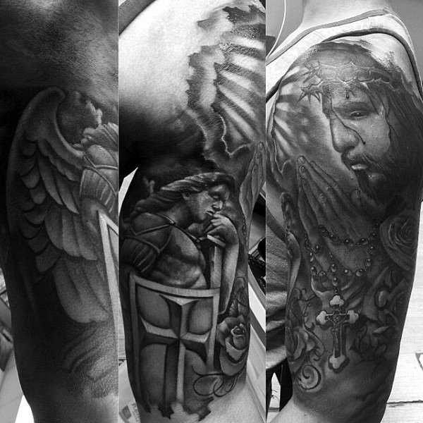 Half Sleeve Angel Jesus Praying Hands Tattoo For Guys