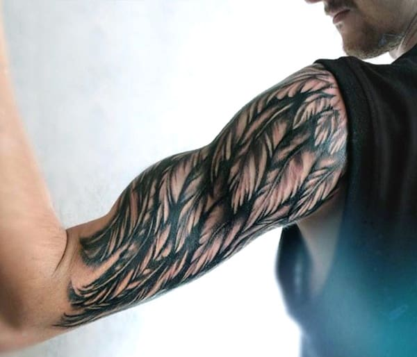 Half Sleeve Angel Wing Tattoos On Mens Arm