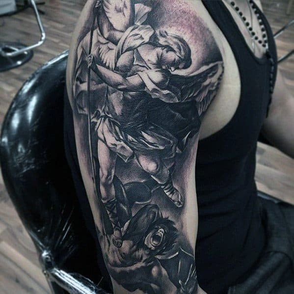 Half Sleeve Angels Themed Incredible Epic Tattoos For Men