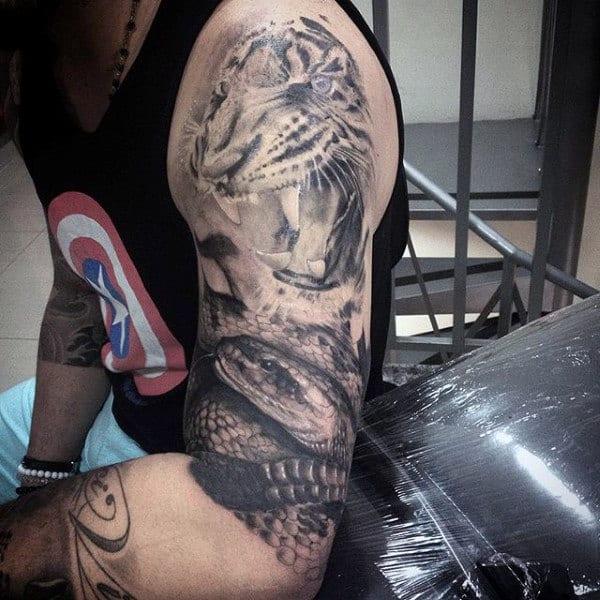 Half Sleeve Animal Themed Male Tattoos