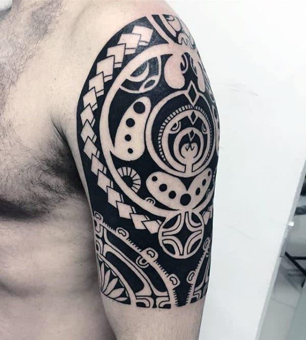 Half Sleeve Arm Guys Cool Polynesian Tattoo Ideas