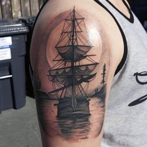 Half Sleeve Arm Ship Tattoo For Guys