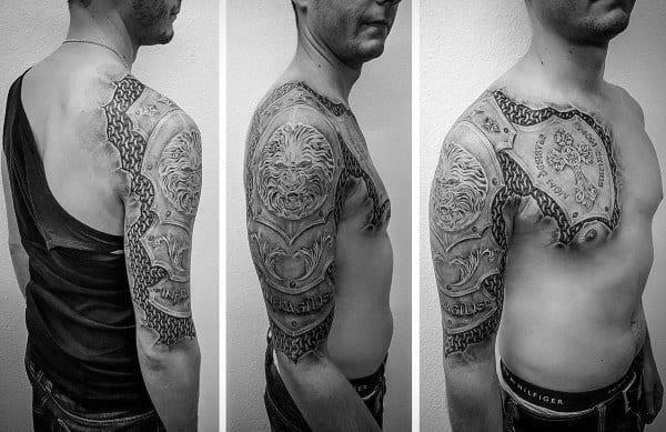 Half Sleeve Armor Shield Male Tattoo