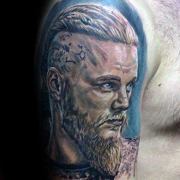 Half Sleeve Artistic Male Ragnar Tattoo Ideas