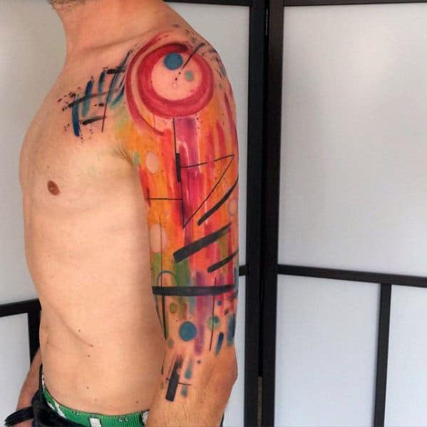 Half Sleeve Artsy Creative Mens Colorful Tattoo Ideas
