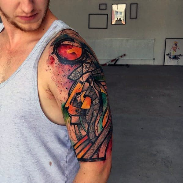 Half Sleeve Artsy Lion Watercolor Male Tattoos