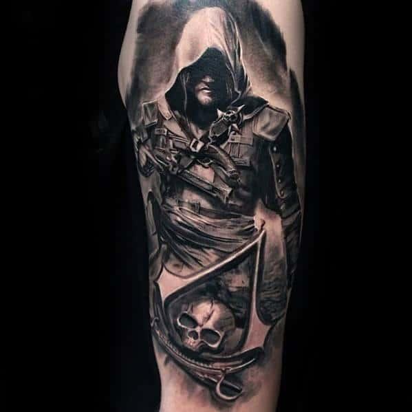 Half Sleeve Assassins Creed Gamer Mens Tatoo Designs