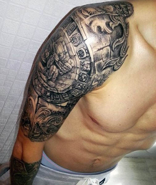 Half Sleeve Aztec Skulls Tattoos For Men
