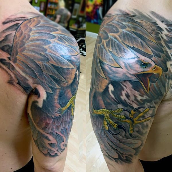 Half Sleeve Bald Eagle Tattoos For Men