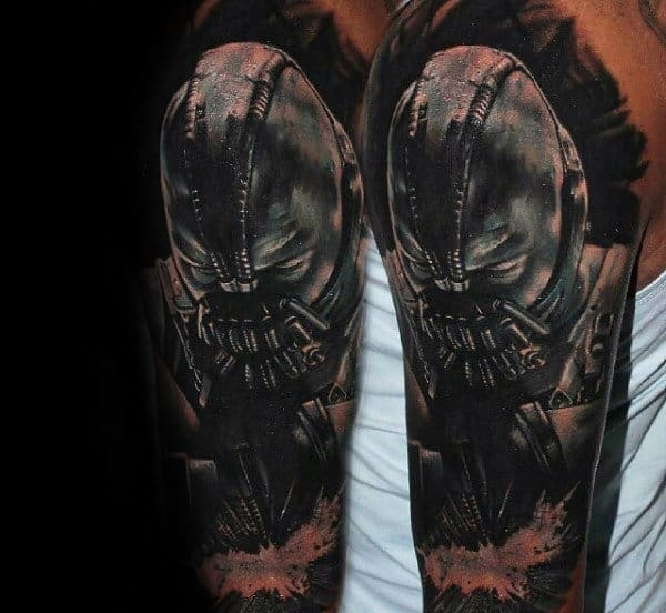 Half Sleeve Bane Tattoo With Negative Space Batman Symbol For Guys