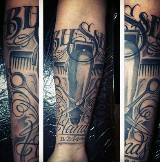Half Sleeve Barbershop Tattoo With Clippers And Scissors For Men