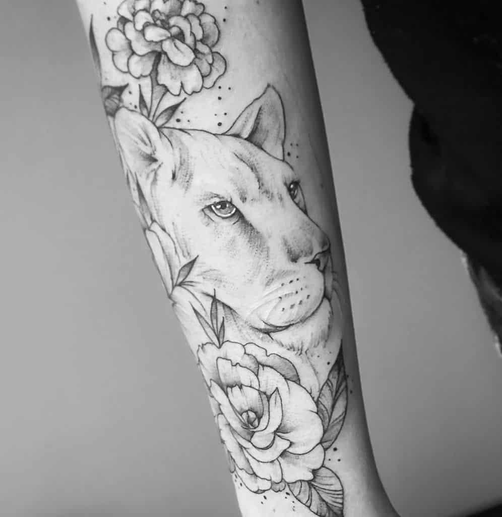 Half Sleeve Birth Flower Lion Tattoo