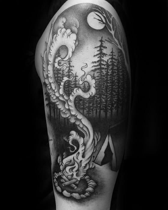 Half Sleeve Black And Grey Shaded Masculine Tent Tattoos For Men
