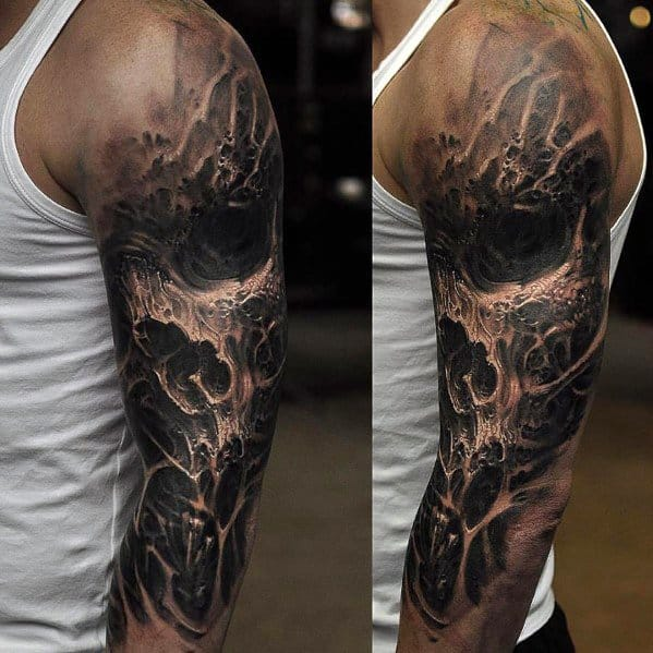 Half Sleeve Black And White Ink Badass Skull Male Tattoos