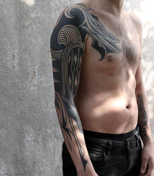 Half Sleeve Blackwork Negative Space Tattoo For Guys