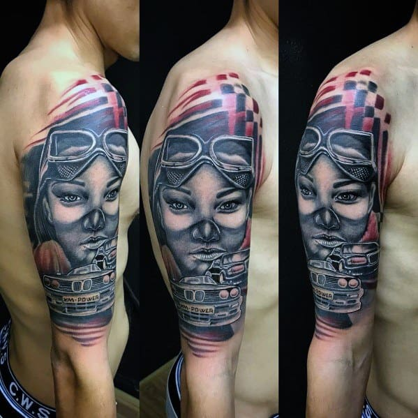 Half Sleeve Bmw Tattoo For Guys