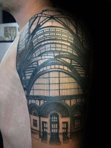 Half Sleeve Building Architecture Male Tattoo Designs