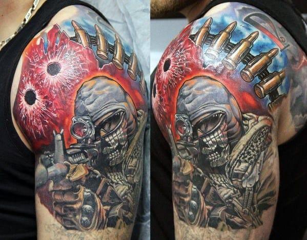 Half Sleeve Call Of Duty Mens Tattoos