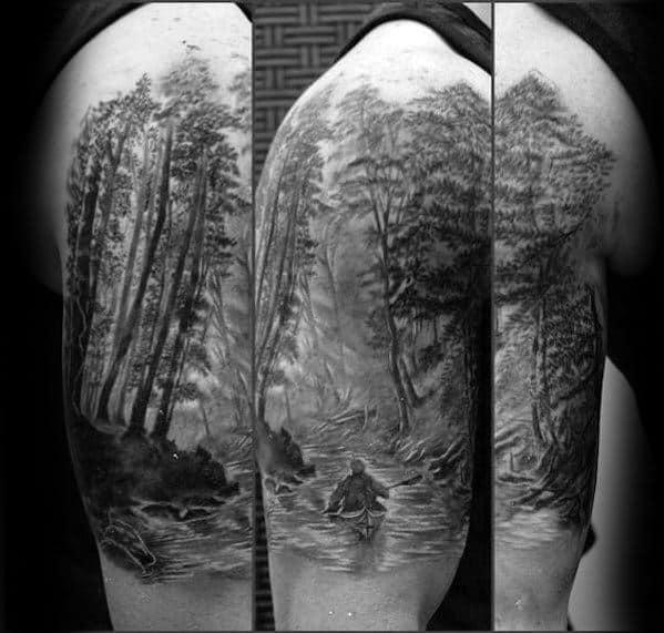 Half Sleeve Canoe Tattoo Designs For Guys