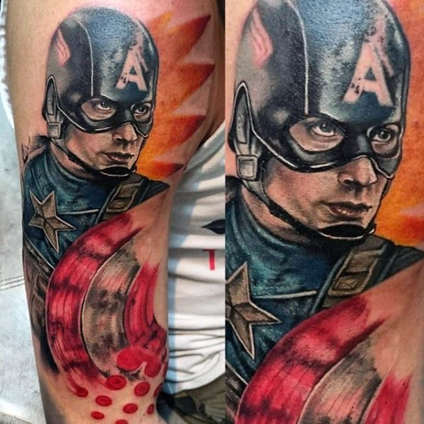 Half Sleeve Captain America Abstract Guys Tattoos