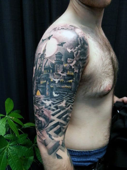 Half Sleeve Castle With Maze Tattoo Design For Men