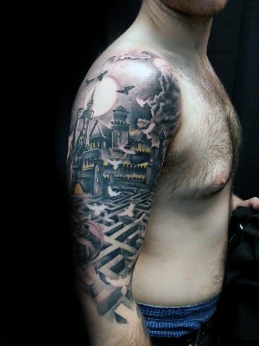 Half Sleeve Castle With Maze Tattoo Ideas For Gentlemen
