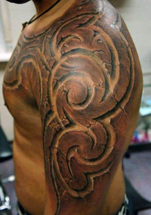 Half Sleeve Chest And Arm Male 3d Tribal Negative Space Tattoos