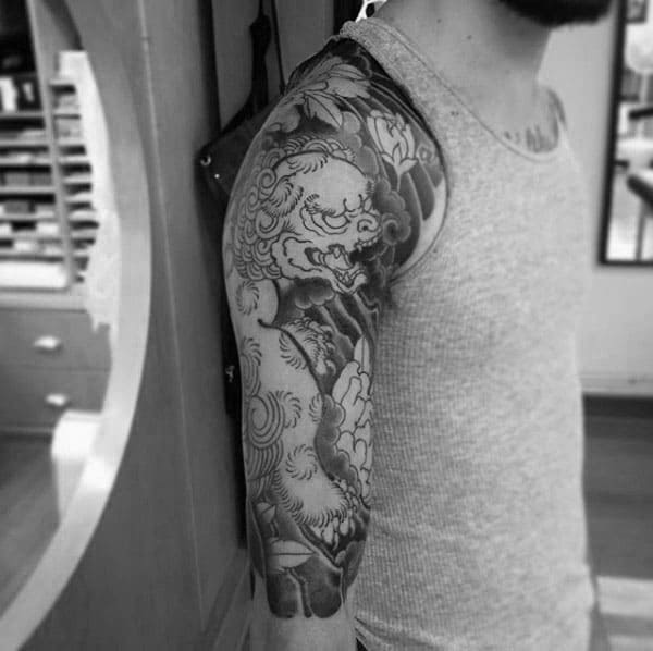 Half Sleeve Chinese Male Foo Dog Tattoo Idea Inspiration