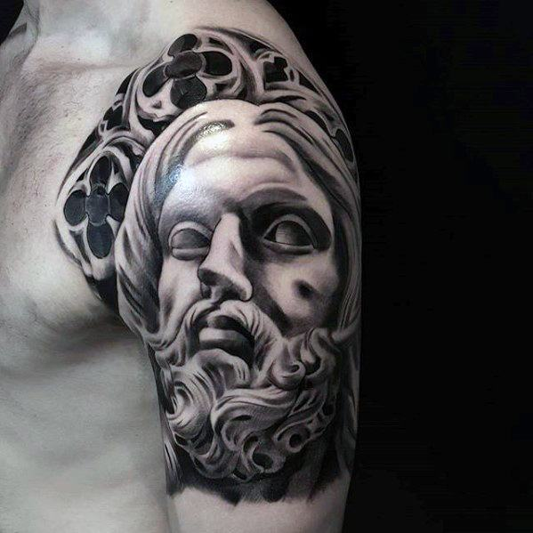 Half Sleeve Church Windows 3d Jesus Tattoo Ideas For Gentlemen