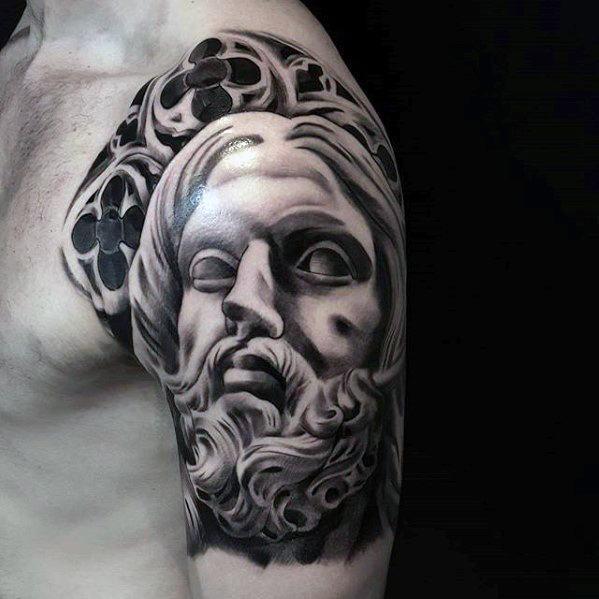 Half Sleeve Church Windows 3d Jesus Tattoo Ideas For Gentlemen