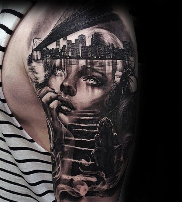 Half Sleeve City Skyline Mens Rad Tattoo Design Ideas