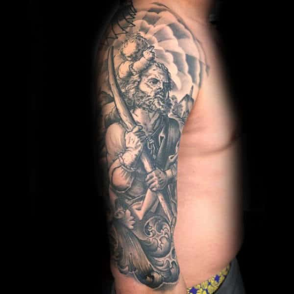 Half Sleeve Clouds With Sun Rays Male Saint Christopher Tattoos