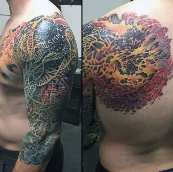Half Sleeve Color Dna Male Tattoos