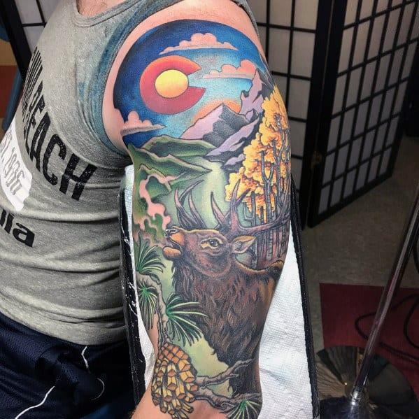 Half Sleeve Colorado Themed Elk Tattoo Ideas For Men