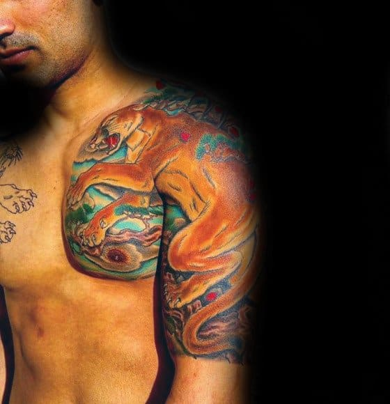 Half Sleeve Colorful Creative Mountain Lion Tattoos For Men