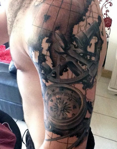 Half Sleeve Compass Map Mens Tattoo Designs