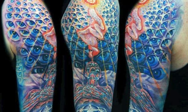Half Sleeve Consciousness Guys Tattoo Designs