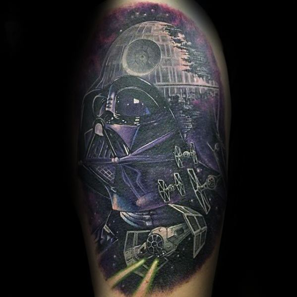 Half Sleeve Cool Darth Vader Death Star Tattoo Design Ideas For Male