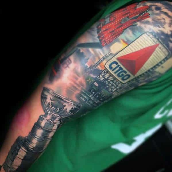 Half Sleeve Cool Male Boston Red Sox Tattoo Designs