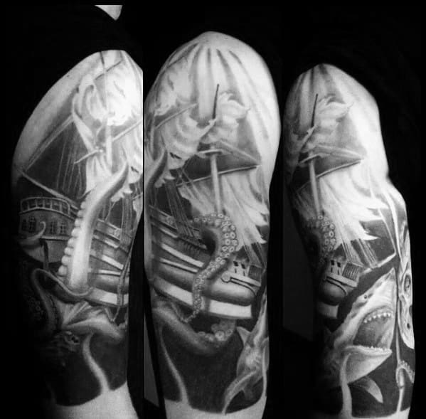 Half Sleeve Cool Male Sinking Ship With Kraken Tentacles Tattoo Designs