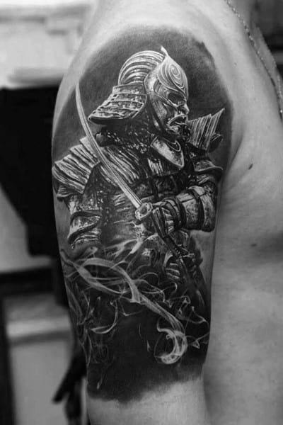 Half Sleeve Coolest Mens Samuari Tattoo Design Ideas