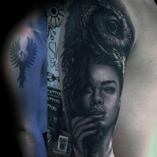 Half Sleeve Cover Up Female Portrait With Owl Tattoo For Men