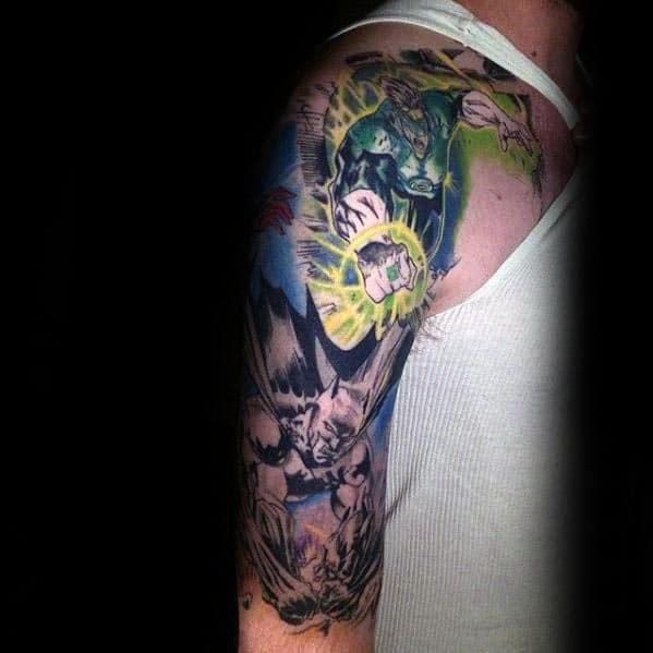 Half Sleeve Creative Guys Green Lantern Themed Tattoo Ideas