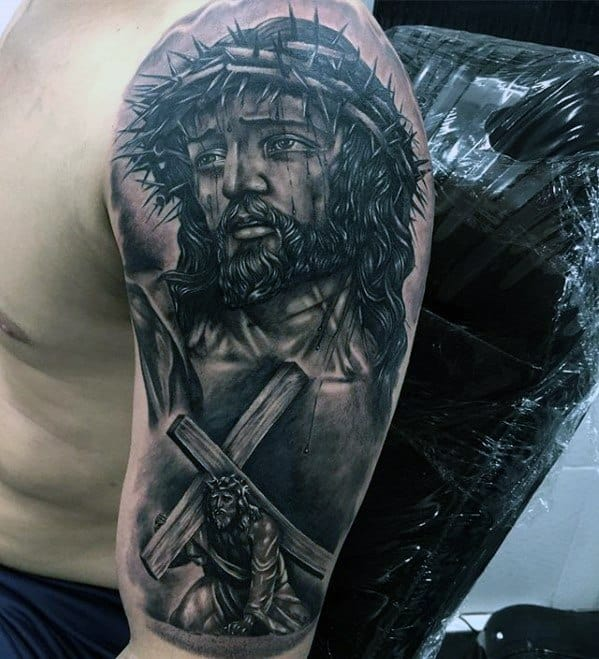 Half Sleeve Cross 3d Jesus Tattoo Ideas For Males