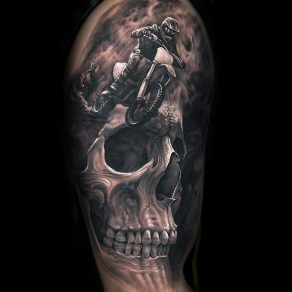 Half Sleeve Dirt Bike With Skull Cool Male Morph Tattoo Designs