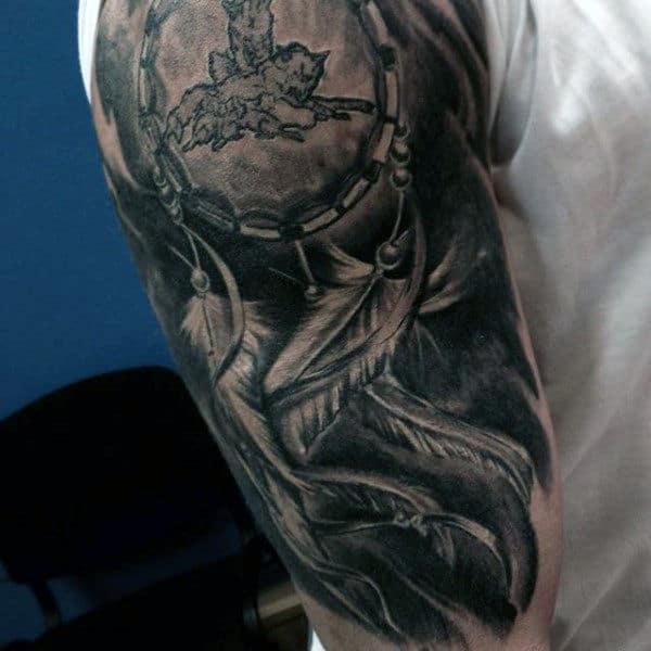 Half Sleeve Dreamcatcher Guys Tattoos
