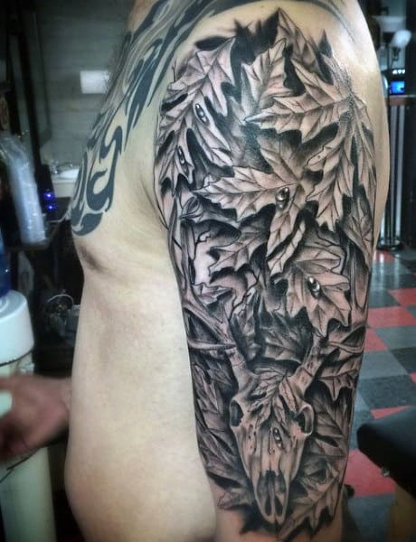 70 hunting tattoos for men skills of war in times of peace for Camo sleeve tattoo