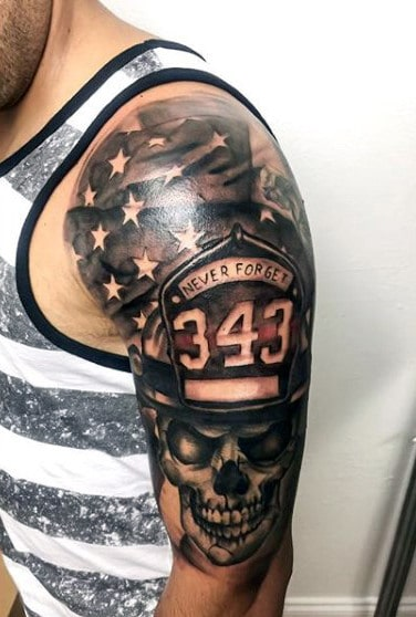 Half Sleeve Fallen Firefighter Tattoos On Man